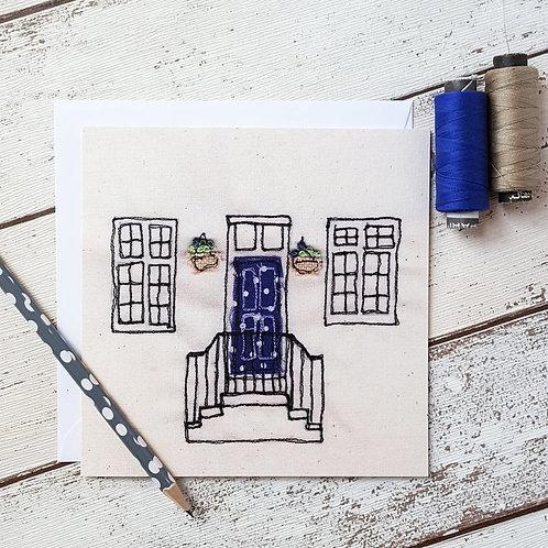 Blue Polka Dot Door Card