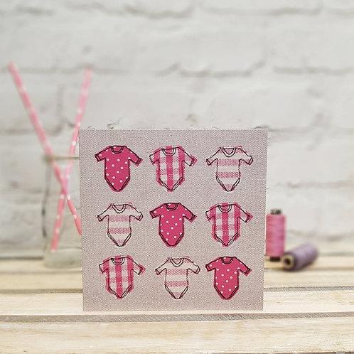 Pink Babygrow Card