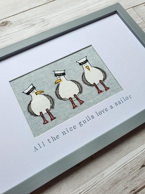 'All the nice gulls love a sailor' - Original Framed Stitch (made to order)