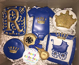 Blue Gold Royal Baby Shower Cookies