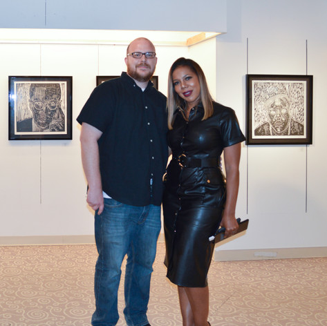 Miami Art Mob - artist John English with our curator Celena Muzic