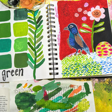 Green Color Study with Bird