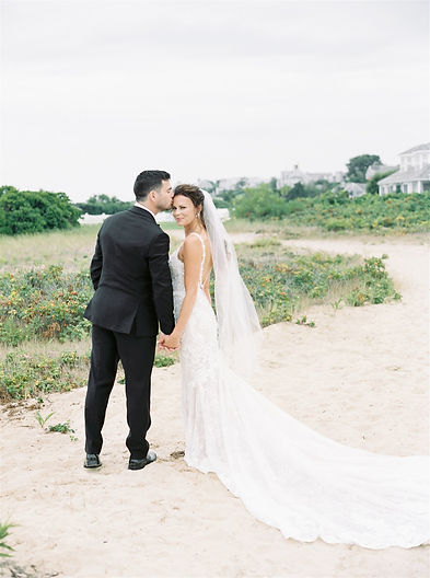 bride and groom at their luxurious wedding in new england