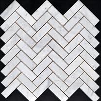 Carrara Herringbone Marble Mosiac