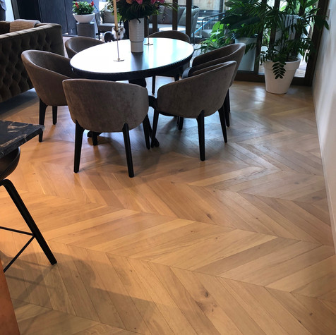 Raw Oiled Chevron Flooring