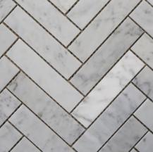 Carrara Herringbone Mosaic