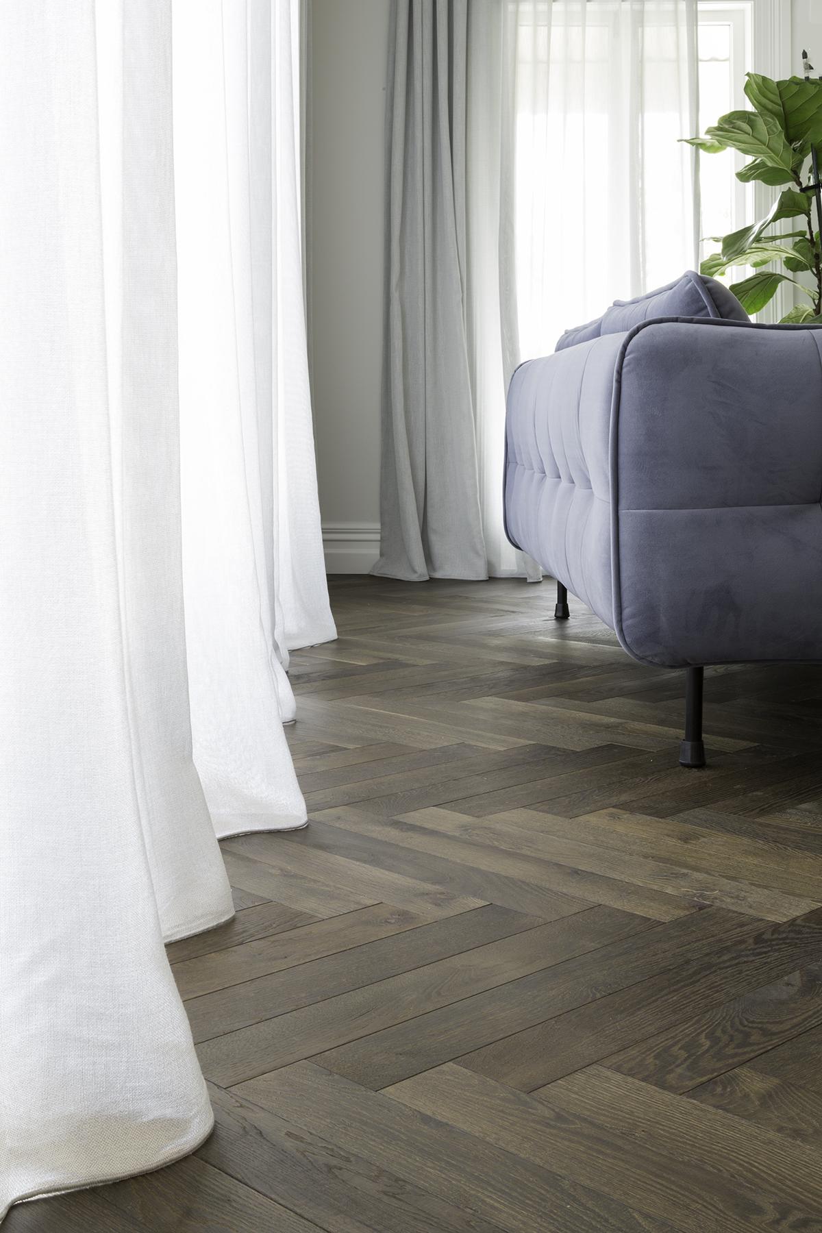 Marrone herring bone timber flooring