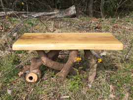 """Oak and rhododendron coffee table or bench (18""""tall, 16""""wide, 32""""long) $295"""