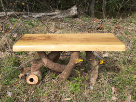 "Oak and rhododendron coffee table or bench (18""tall, 16""wide, 32""long) $295"