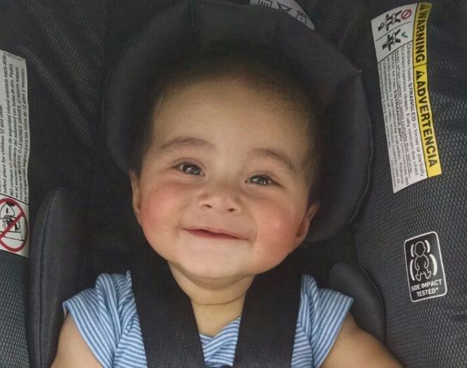 Baby Mateo, happy after a long nap