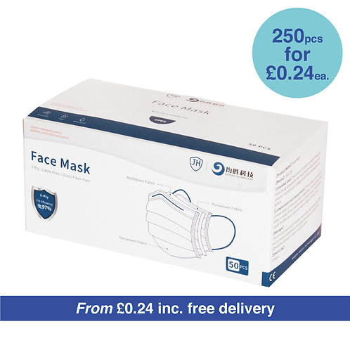 3-Ply Disposable Face Mask - BULK ORDER - 250PCS - FREE DELIVERY