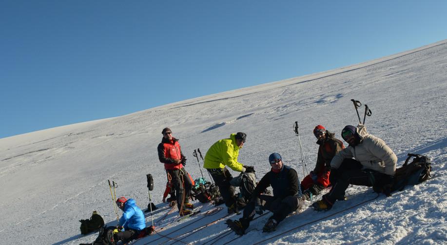 On the way to the summit of Kazbeg