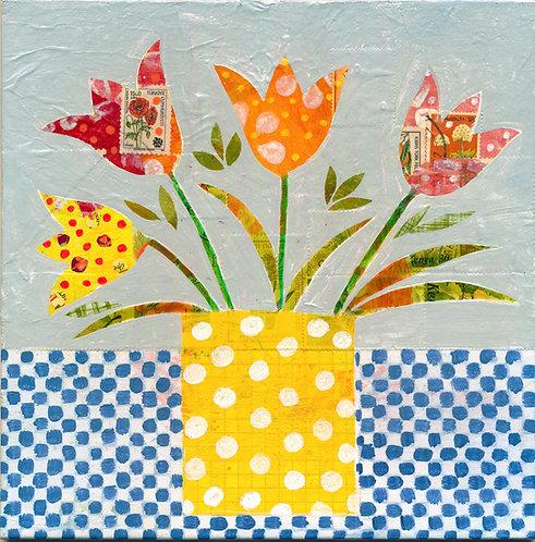 Flowers in a dotty pot