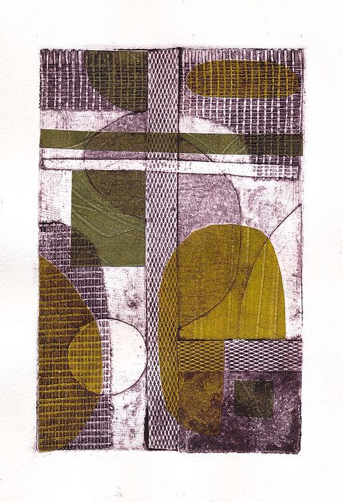 Magenta & Green Collagraph 2