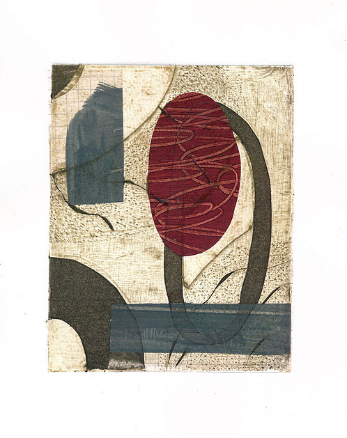 Deep Red Oval Collagraph