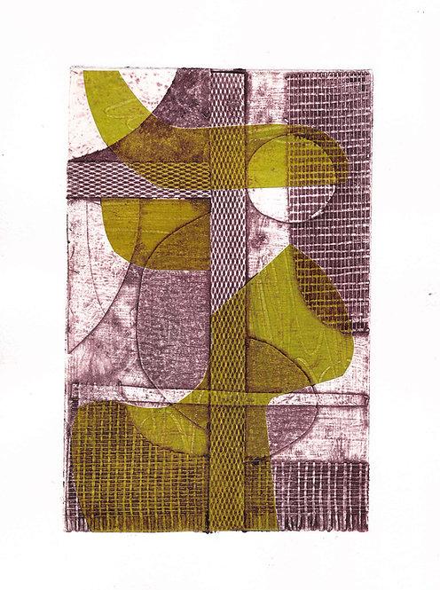 Magenta & Green Collagraph 3