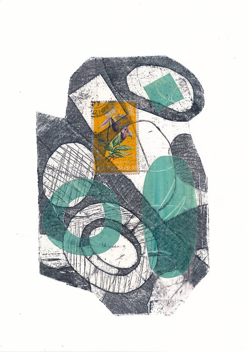 Grey Collagraph with stamp