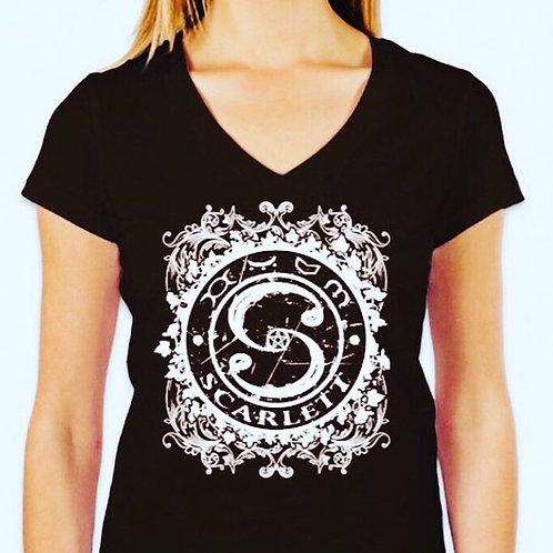 SCARLETT Black T-Shirt Women (V-neck)