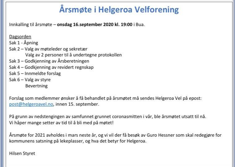 Innkalling til årsmøte Helgeroa vel 2020