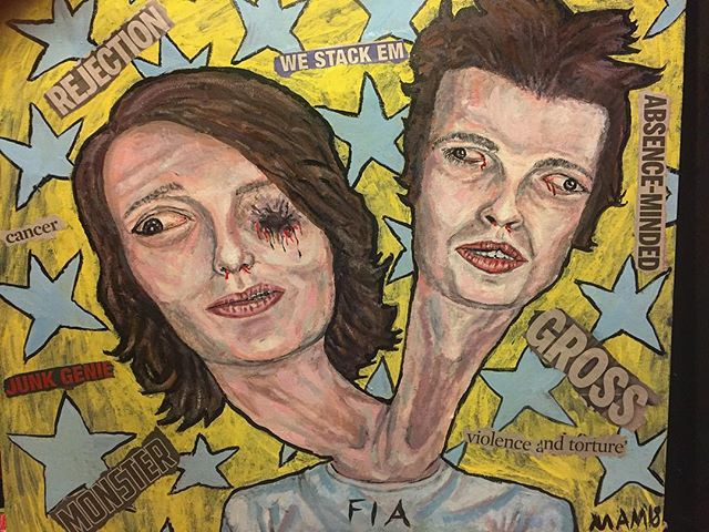 Portrait of my sis and her guy but gross