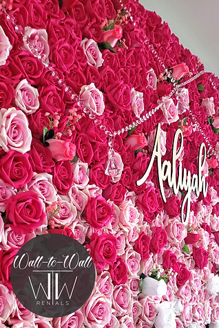 Boxwood Hedge Wall Rental Miami rose flower wall with crystals