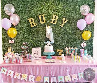 Boxwood Hedge Wall Rental Miami unicorn birthday theme