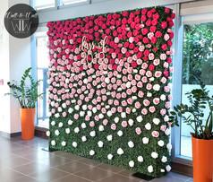 Boxwood Hedge Wall Rental Miami rose flower wall