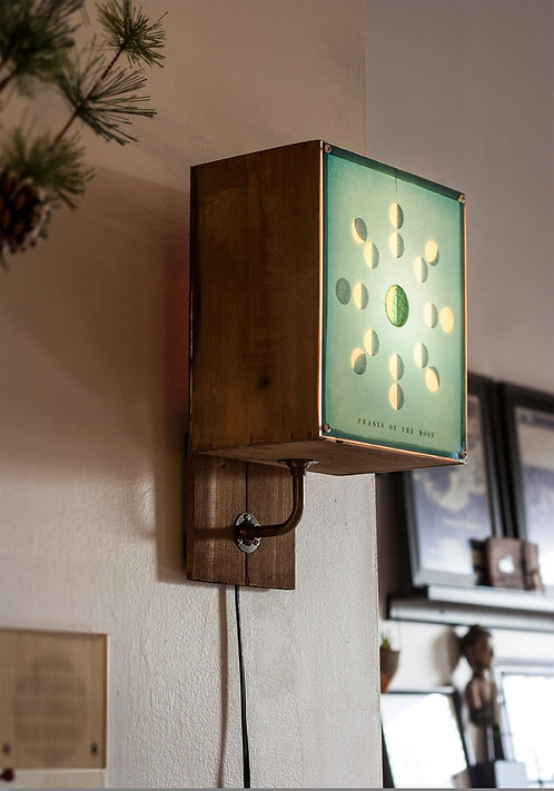 Phases of the Moon - rustic wall sconce