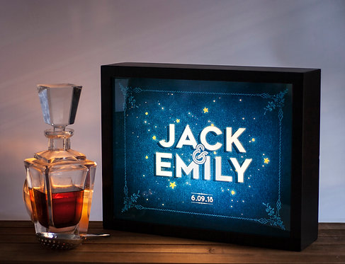 Personalized Newlywed gift - Name in the stars lightbox