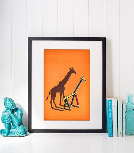 Giraffe shadow puppet