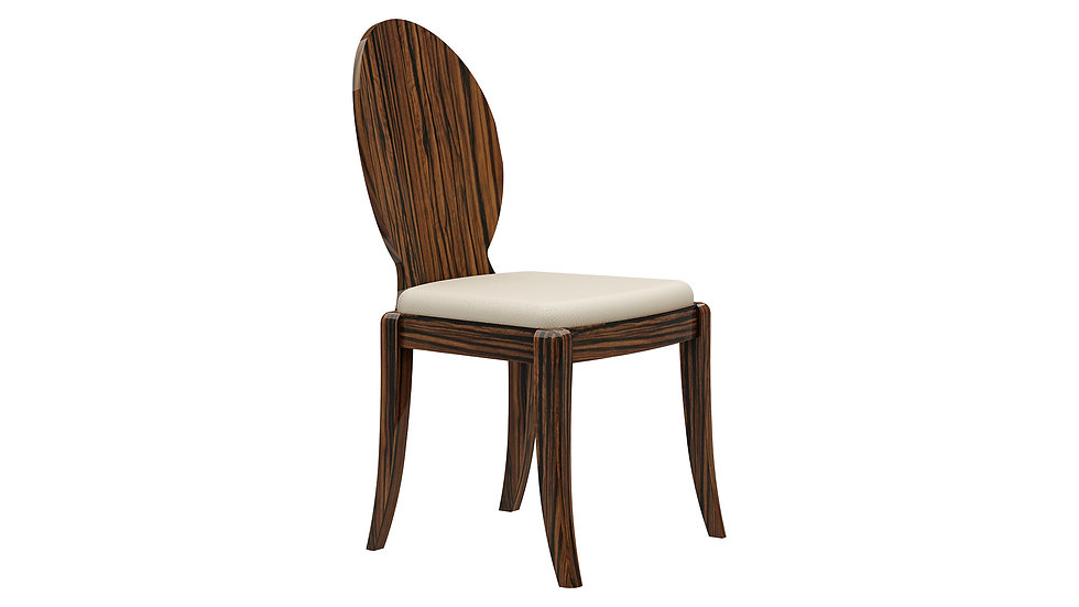 Ivory and Rosewood Finish Dining Chair