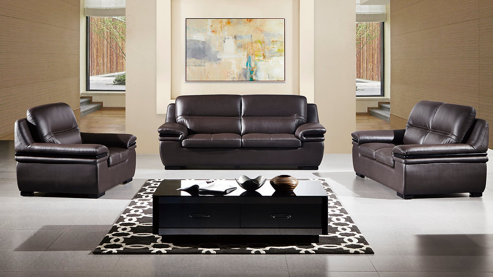 Camden Brown Genuine Leather Sofa Set