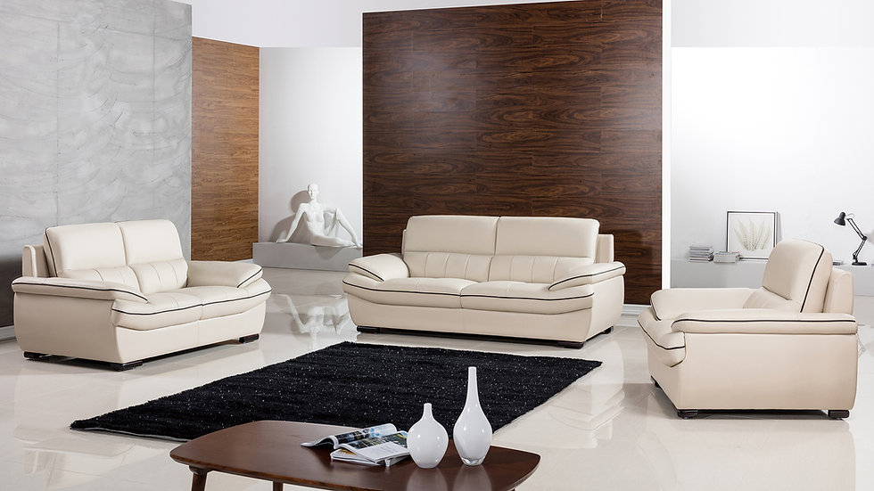 Templeton Tan Genuine Leather Sofa Set