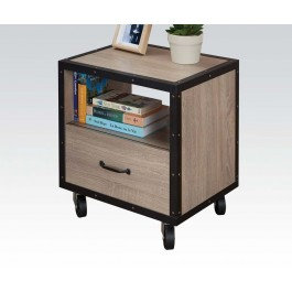 Light Brown/Black Nightstand