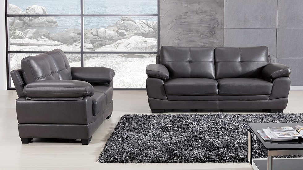 Baywater Gray Leather Air Fabric Sofa Set