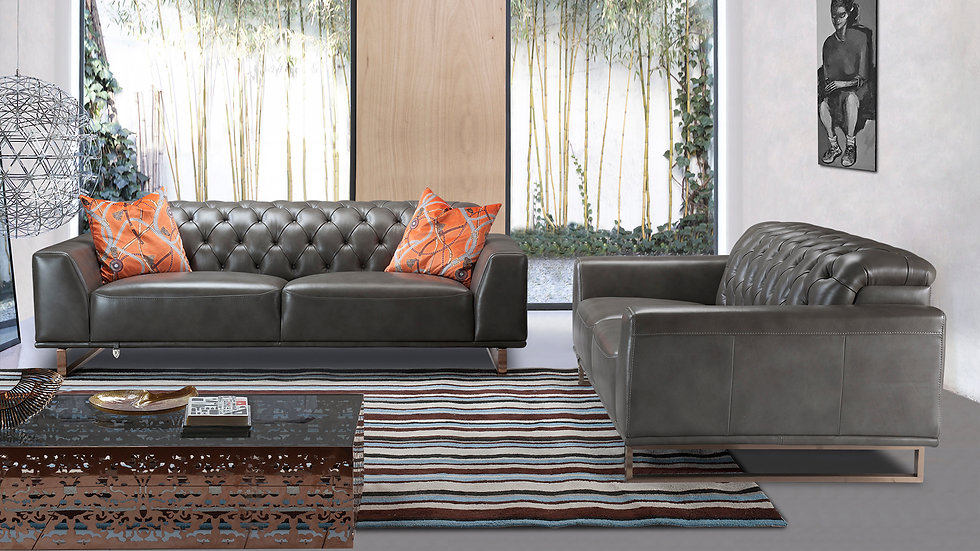 Gray Full Italian Leather Sofa Set