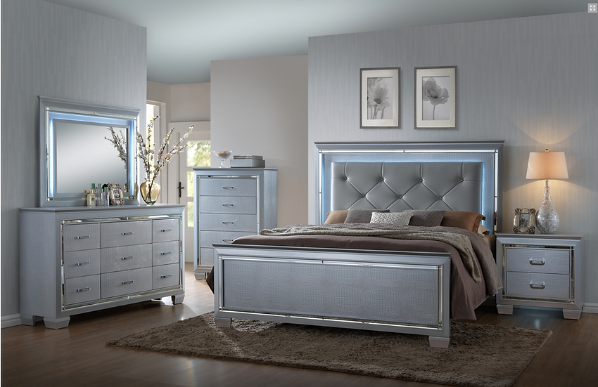 Champagne Lily King Bedroom Set