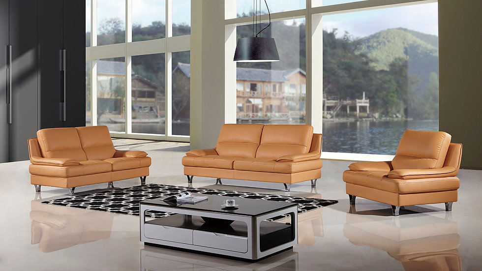 Orsman Orange Genuine Leather Sofa Set
