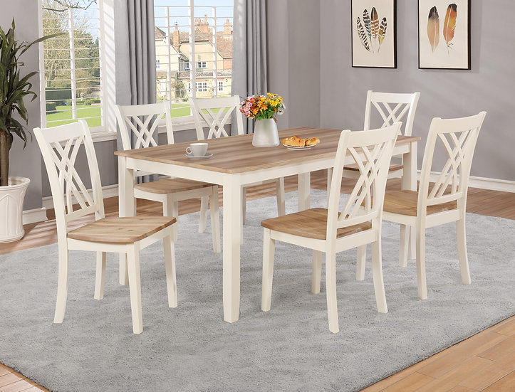 White Rustic Oak 7pc Dining Set