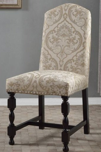 White/Silver Pattern Dining Chair