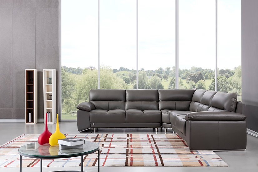 Charcoal Leather Sectional
