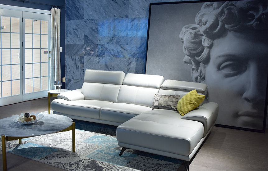 Roma White Leather Sectional