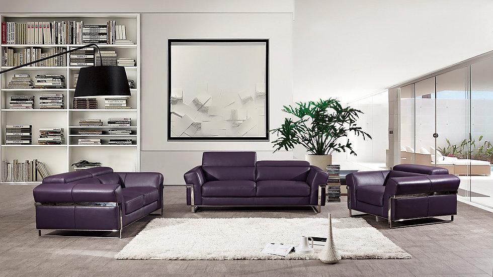 Becher Purple Genuine Leather Sofa Set