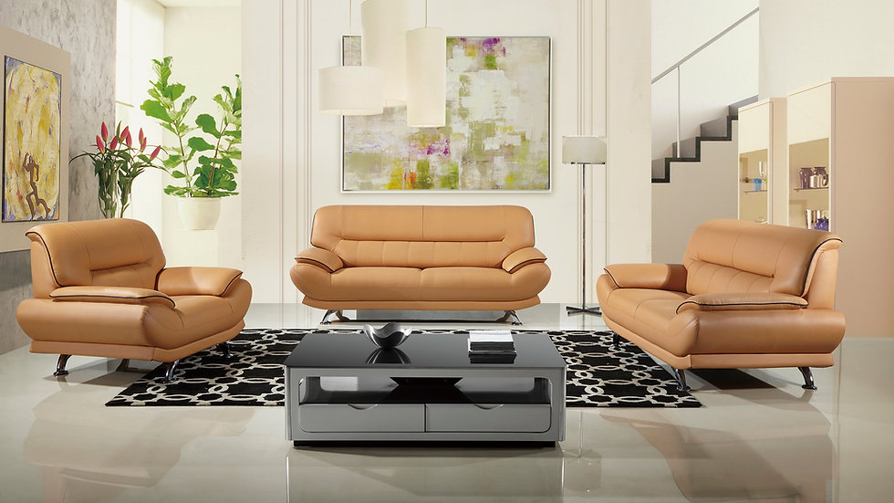 Orange Evins Place Genuine Leather Sofa Set Tan