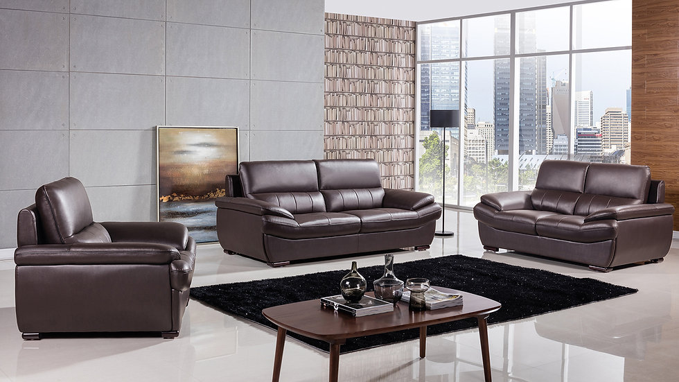 Templeton Brown Genuine Leather Sofa Set