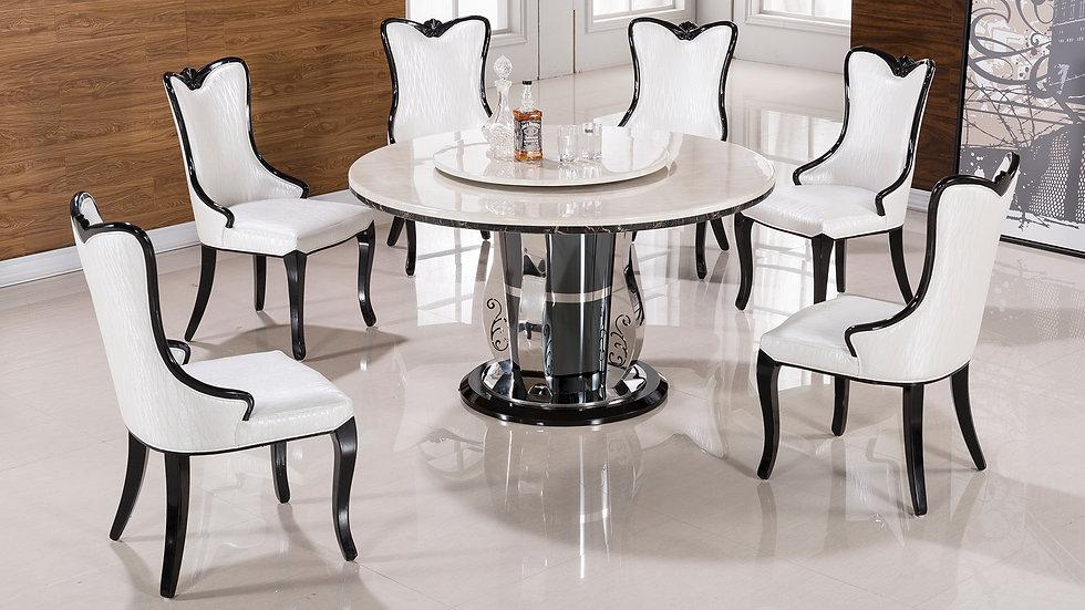 Goudi Ruede 7pc Marble Dining Set