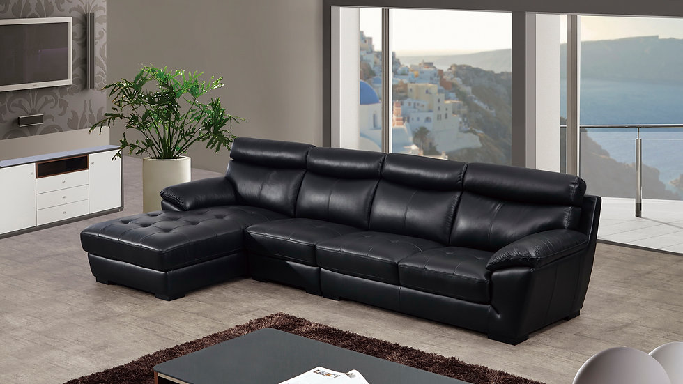 Paseo Negro Leather Sectional