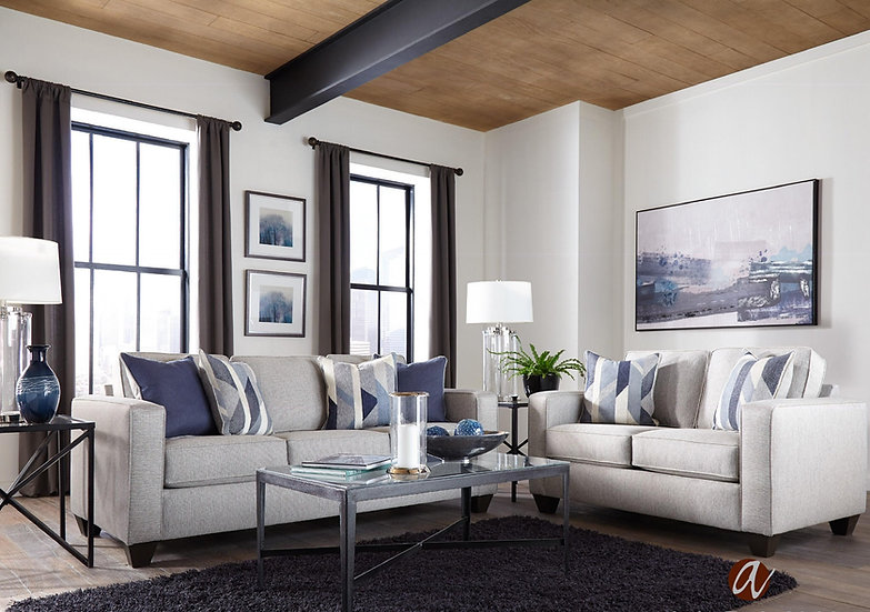 Grey/Blue 2 pc sofa Set