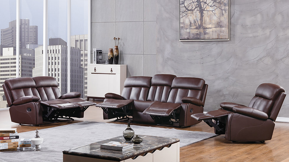 Abotts Place Brown Reclining Sofa Set