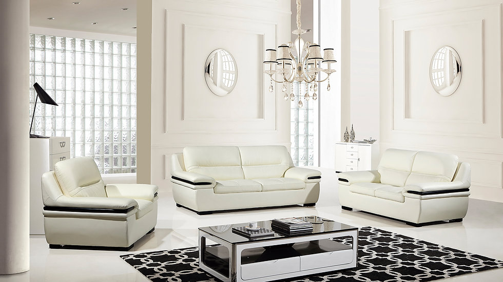 Camden White Genuine Leather Sofa Set